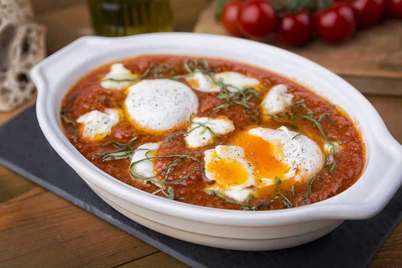 Eggs & Cheese in Tomato Basil Sauce