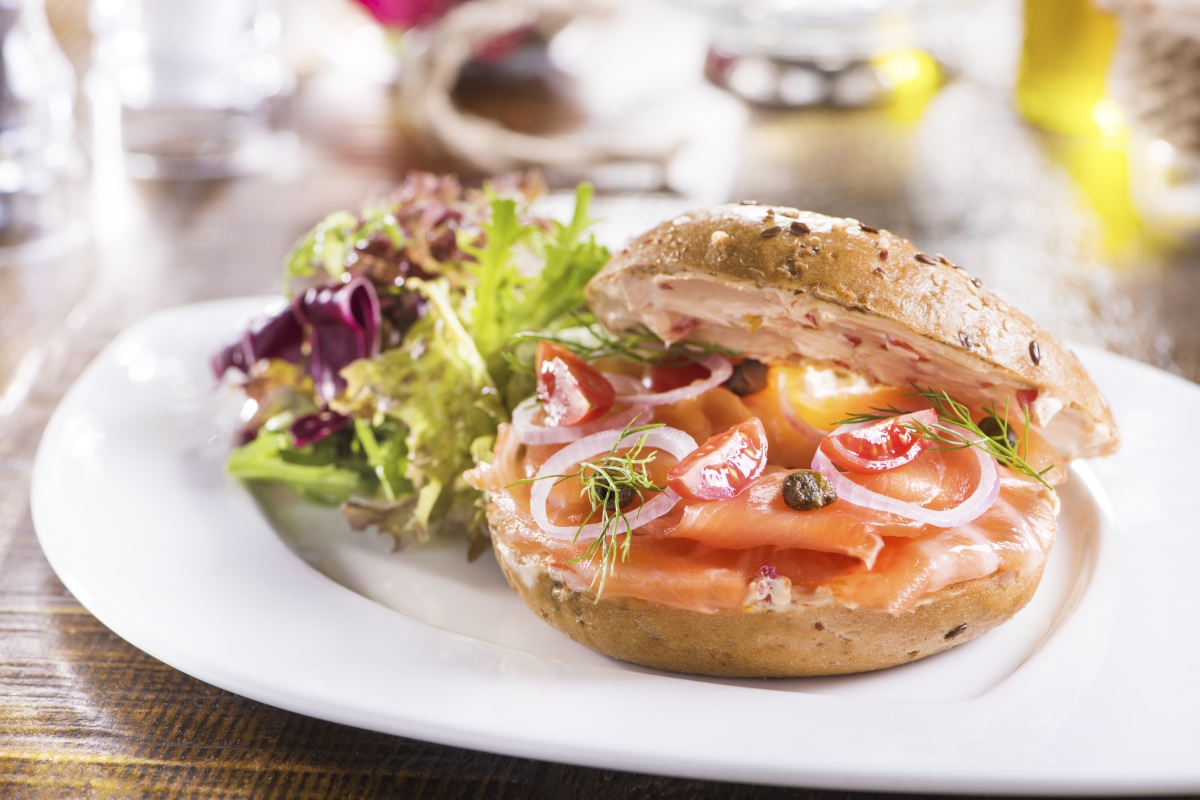 SALMON and BAGEL SANDWICH