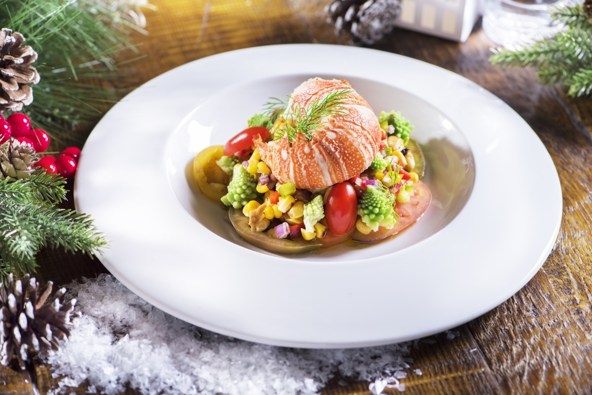 Poached Lobster with Corn and Tomato Salad