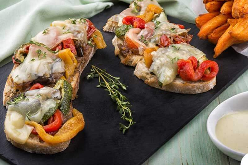 Roasted Vegetables & Cheese Crostini